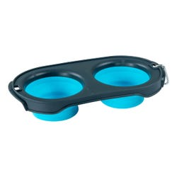 Silicone Collapsible Pet Dish Set - Blue