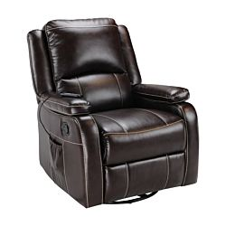 Swivel Glider Recliner with Remote Massage - Jaleco Chocolate
