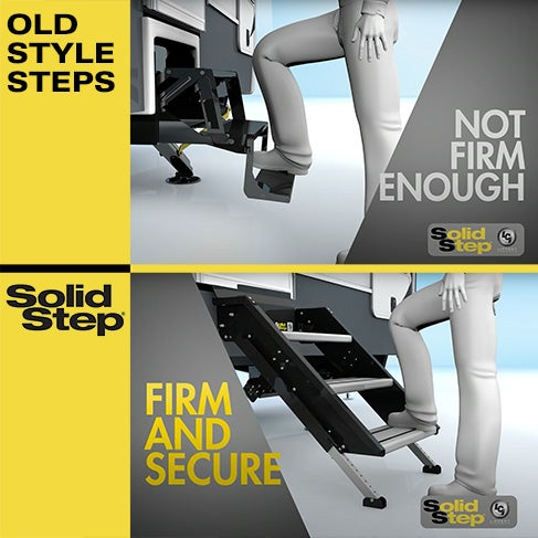 Old RV steps are not firm enough, but Solid Step is firm and secure