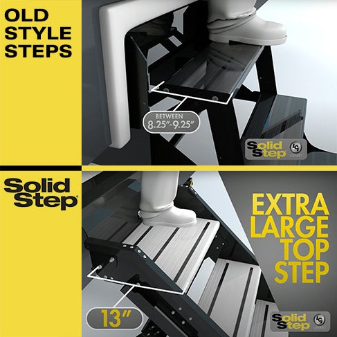 "Solid Step's extra-wide, 13"" deep top tread vs. old RV steps"