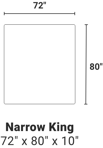 Narrow King - 72 inches by 80 inches by 10 inches