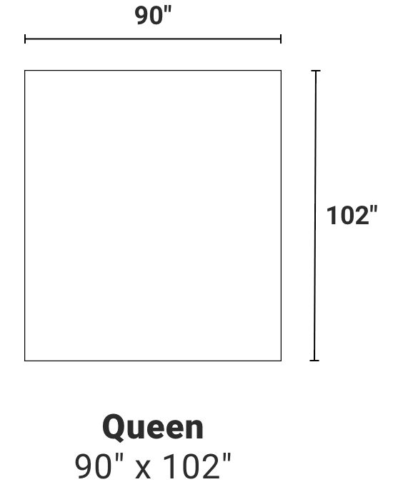 Queen - 90 inches by 102 inches